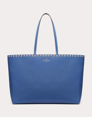 Valentino Garavani Large Grain Calfskin Leather Rockstud Shopping Bag Women Black Calfskin 100% OneSize