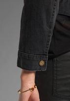 Current/Elliott The Snap Jacket in Night w/ Spotted Metallic Ponyhair