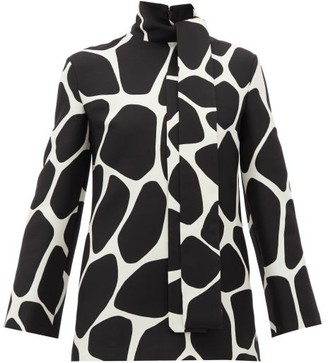 Valentino Pussy-bow 1966 Giraffe-print Wool-blend Top - Womens - Black White