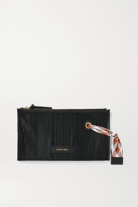 See by Chloe Beth Leather-trimmed Pleated Satin Cosmetics Case - Black