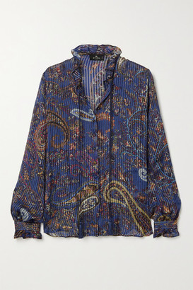 Etro Ruffled Pleated Metallic Paisley-print Silk-chiffon Blouse - Navy