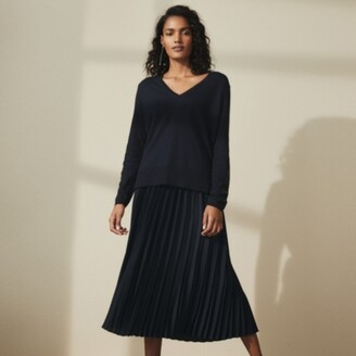 The White Company Luxe Satin Pleated Skirt, Midnight, 6