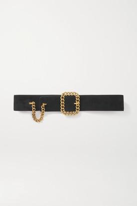 Saint Laurent Chain-embellished Suede Waist Belt - Black