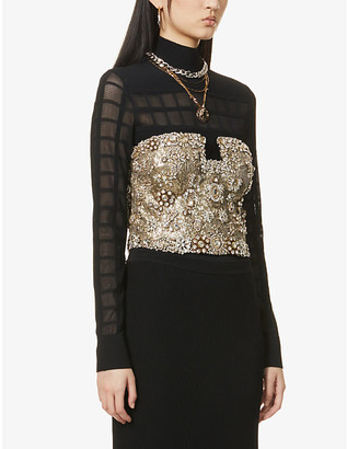 Alexander McQueen Sequin and gemstone-embellished corset top