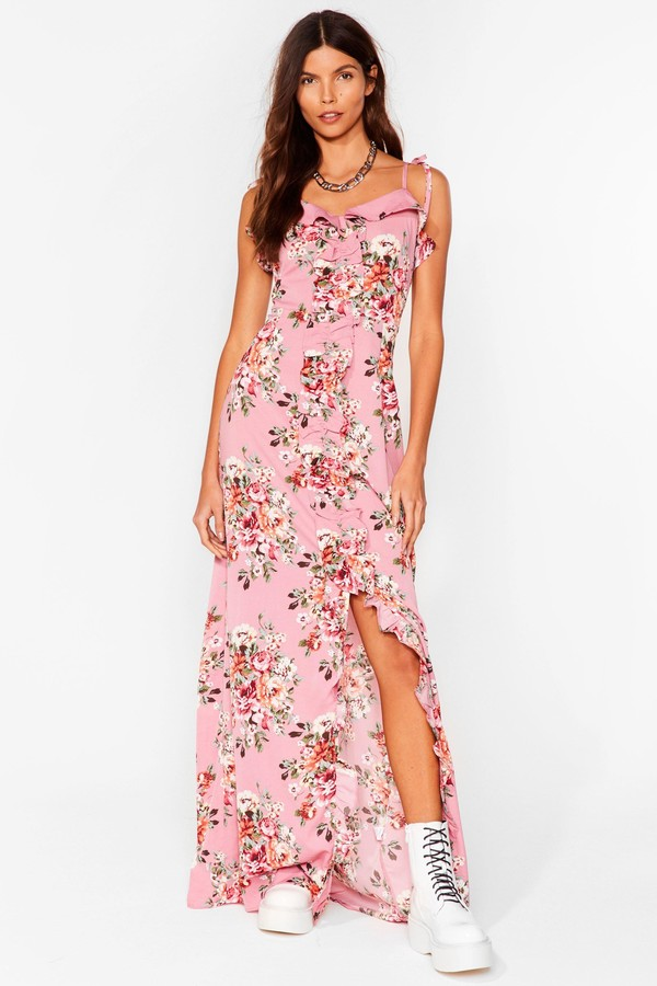 Nasty Gal Womens Floral Frill Trim Slit Maxi Dress - Pink - 6