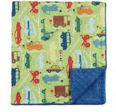 "MyBlankee My Blankee Beep Beep Organic Cotton Lime Green w/ Minky Dot Electric Blue Baby Blanket, 30"" X 35"""