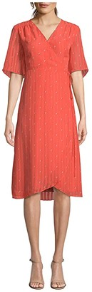 Cupcakes And Cashmere Mulholland 'Dot' Chiffon Wrap Midi Dress (Hot Coral) Women's Dress