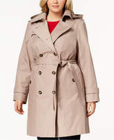 London Fog Plus Size Hooded Double-Breasted Trench Coat