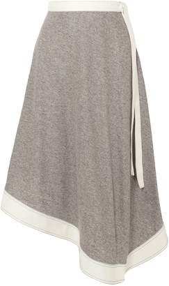 Loewe Asymmetric Melange Linen And Ramie-blend Midi Skirt
