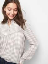 Gap Plaid ruffle collar shirt