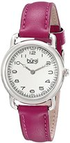 Burgi Women's BUR121PU Classic Two-hand Silver & Fuchsia Leather Strap Watch
