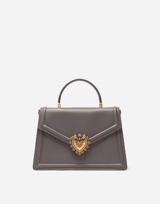 Dolce & Gabbana Large Devotion Bag In Smooth Calfskin