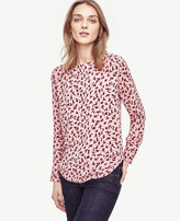 Ann Taylor Petite Leafy Perforated Boatneck Top