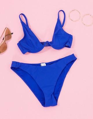 ASOS DESIGN V front high leg bikini bottom in cobalt blue