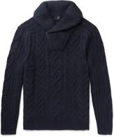 Dunhill - Shawl-Collar Cable-Knit Cashmere Half-Zip Sweater
