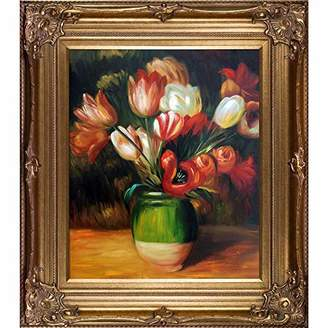 La Pastiche Tulips in a Vase Framed Oil Painting