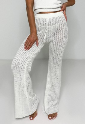 Missguided Cream Co Ord Wide Leg Knitted Trousers
