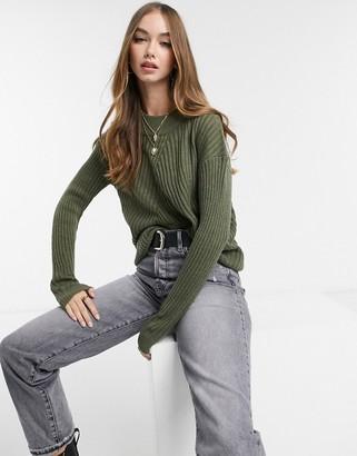 JDY oversized rib sweater with high neck in khaki