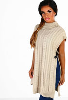 Pink Boutique Naty Stone Side Split Cable Knit Jumper
