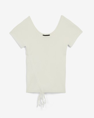 Express Ribbed Ruched Scoop Neck Sweater