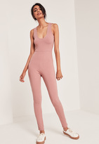 Missguided Ribbed Plunge Sleeveless Unitard Romper Pink