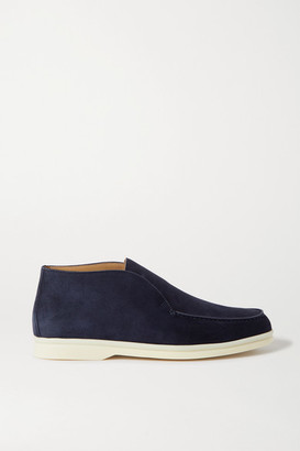 Loro Piana Open Walk Suede Loafers - Navy