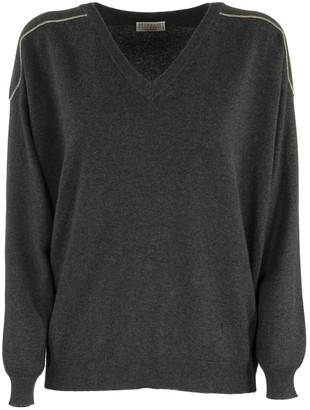 Brunello Cucinelli V-neck Sweater Cashmere Sweater With Shiny Shoulder Embroidery