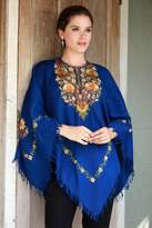 Indian 100% Wool Poncho in Royal Blue with Aari Embroidery, 'Majestic Garden'