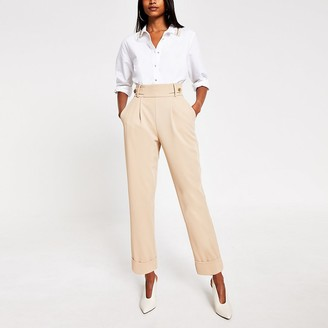 River Island Cream button waist peg trousers