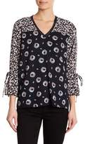 Joe Fresh Mix Print Tie Sleeve Blouse