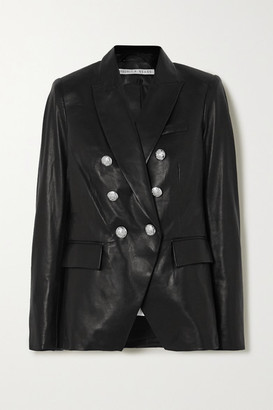 Veronica Beard Miller Dickey Double-breasted Leather Blazer - Black