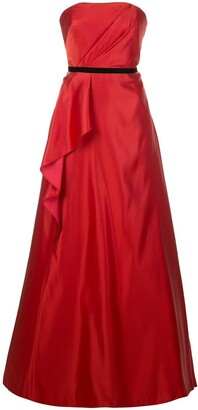 Marchesa Notte Draped Belted Evening Dress