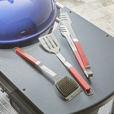 Crate & Barrel Red Grip 3-Piece BBQ Tool Set