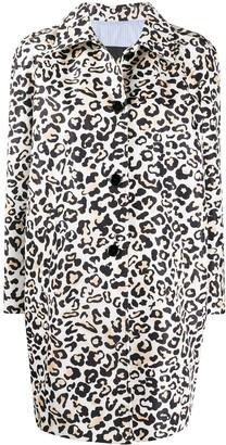Ermanno Ermanno Leopard Print Buttoned Coat