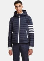 Thom Browne Detachable Hood4 Bar Padded Ski Coat In Navy Blue