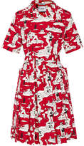 Prada Printed Cotton-poplin Dress - Red