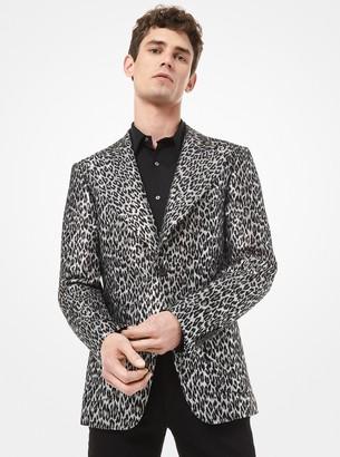 Michael Kors Leopard Metallic Wool Jacquard Blazer