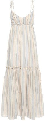 Zimmermann Metallic-trimmed Striped Gauze Maxi Dress