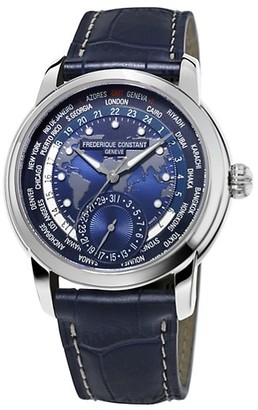 Frederique Constant Worldtimer Manufacture Stainless Steel Leather Strap Watch