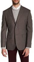 Zanetti Brown Check Two Button Notch Lapel Wool Modern Fit Sport Coat