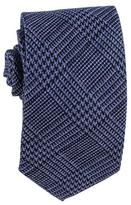 Black Two Tone Blue Check Silk and Wool Tie