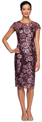 Alex Evenings Petite Midi Length Embroidered Cap Sleeve Shift Dress (Plum) Women's Dress
