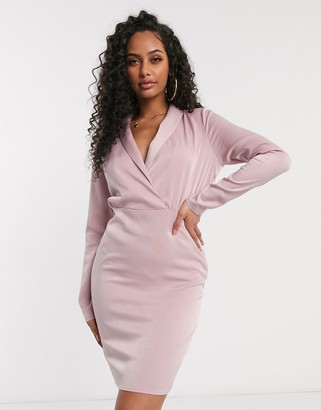 In The Style plunge wrap mni dress in pink