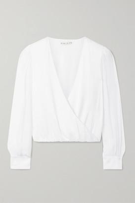 Alice + Olivia Alice Olivia - Hart Wrap-effect Chiffon-trimmed Stretch Silk-charmeuse Blouse - White