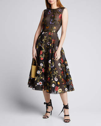 Oscar de la Renta Sleeveless Ikat Floral Embroidered Tulle Day Dress