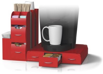 Mind Reader 'Combine' 2-Piece K-Cup Single Serve Coffee Pod Drawer and Condiment Storage Organizer Station, Red