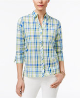 Alfred Dunner Corsica Cotton Plaid Embroidered Shirt