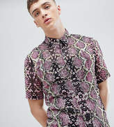 Reclaimed Vintage Inspired Festival Shirt With Pink Crocodile Print And Short Sleeves