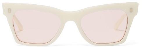 Celine Rectangular Cat Eye Acetate Sunglasses - Womens - Ivory Multi