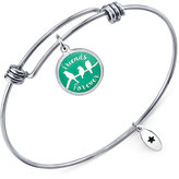 "Unwritten Friends Forever"" Adjustable Message Bangle Bracelet in Stainless Steel"